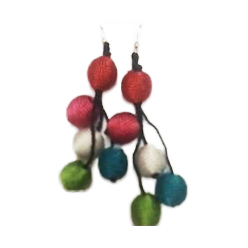 Multi Color Silk Balls Earrings