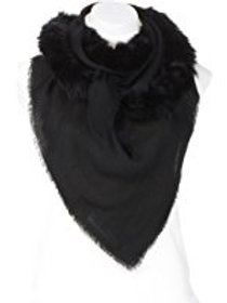 Cashmere Scarf with Fur Trim