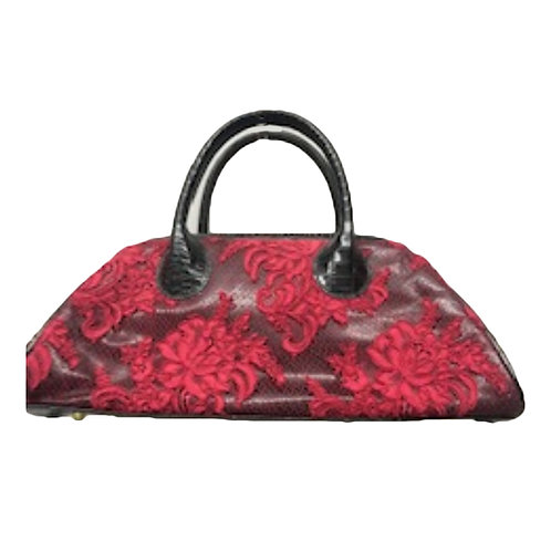 Snake-Embossed and Paris Lace Satchel