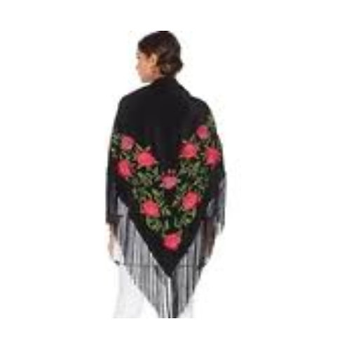 Floral Embroidered Silk Piano Wrap