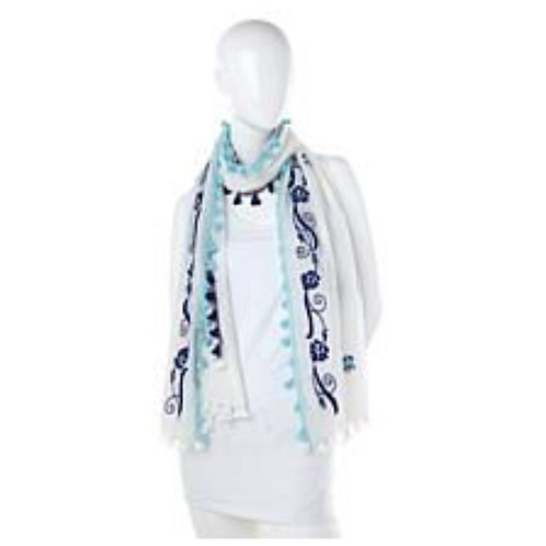 Floral Scarf with Tassels