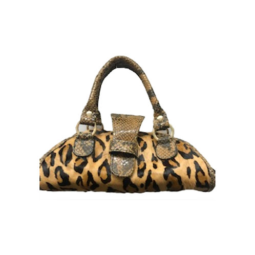 Leopard-Print Haircalf Satchel