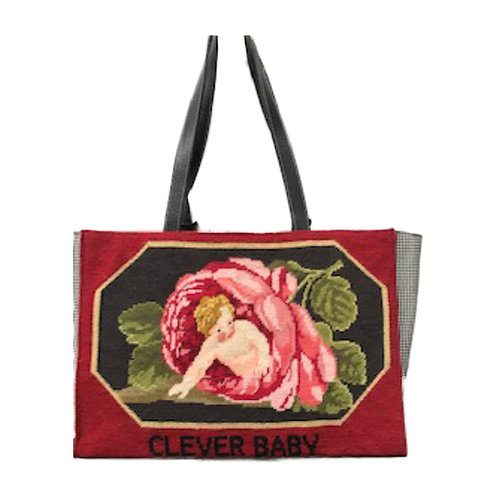 Hand Needlepoint Clever Baby Shopper