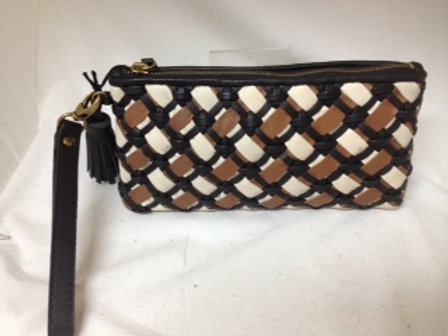 Top Zip Woven Leather Clutch