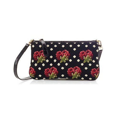 Hand Needlepoint Roses Clutch