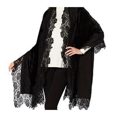 Paris Lace Hand-Appliqued Velvet Scarves