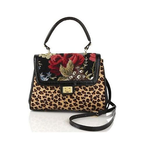 Leopard-Print and Floral Needlepoint Satchel