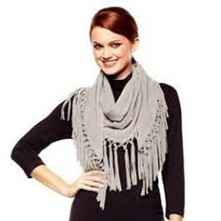 """""""Aspen"""" Suede Scarf with Fringe"""