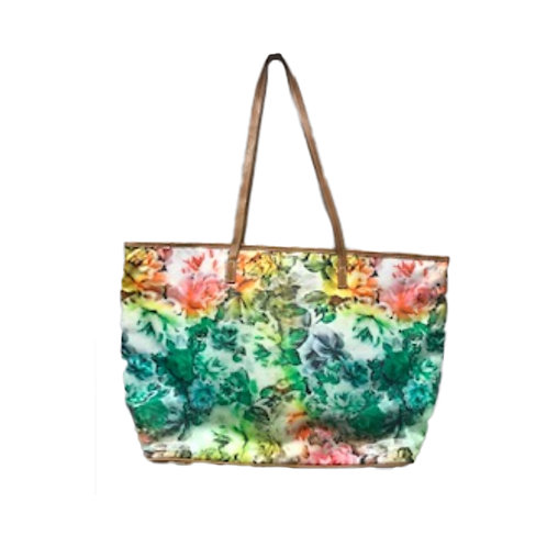 Floral Tote with leather trim