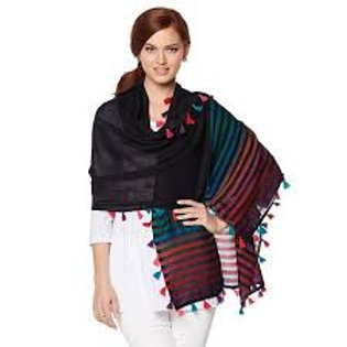 Striped Scarf with Tassels
