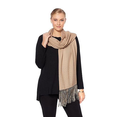 Crystal and Fringe Wool Scarf