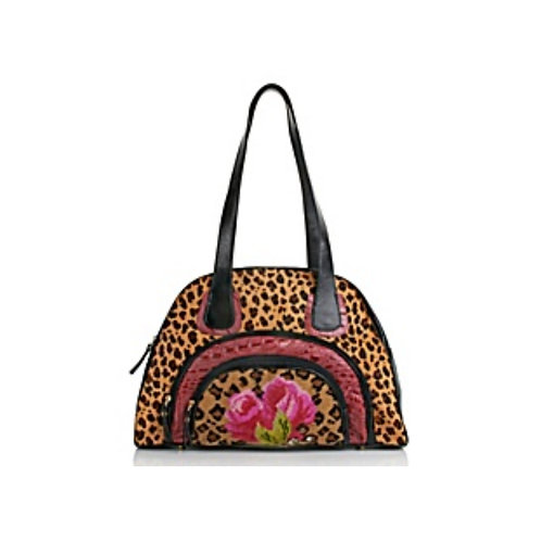 Leopard-Print and Croc Embossed Satchel