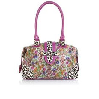 Snake Embossed and Floral Printed Satchel