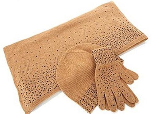 Cashmere/Rhinestone Scarf/Hat/Glove Set