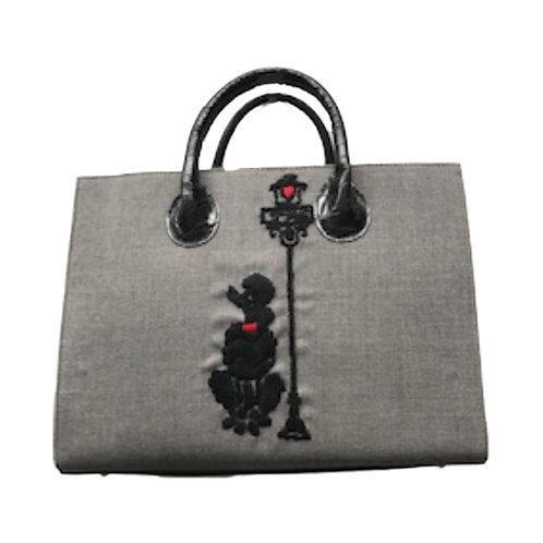 Paris Poodle Embroidered Satchel