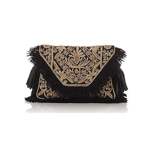 Floral Embroidered with Fringe Clutch