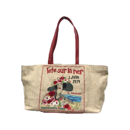 Hand-Embroidered and Beaded Tote