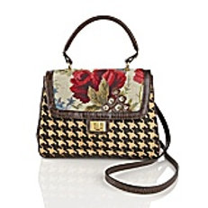 Hand-Needlepoint and Gingham Lady Satchel