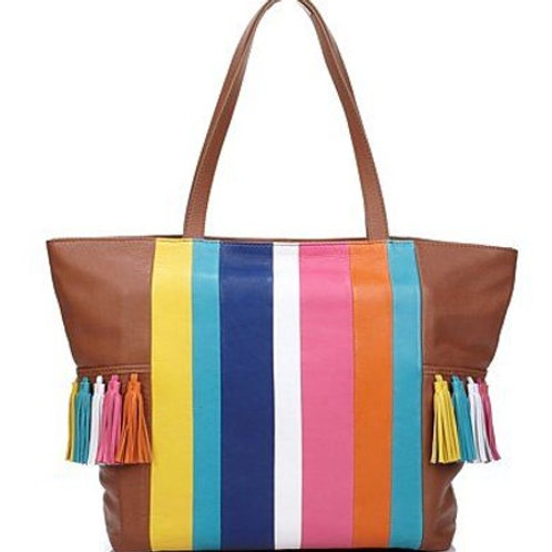Carnaby Street Stripe and Tassel Leather Shopper