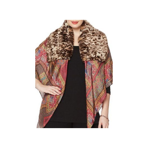 Paisley Silk Scarf with Leopard Print Fur Collar