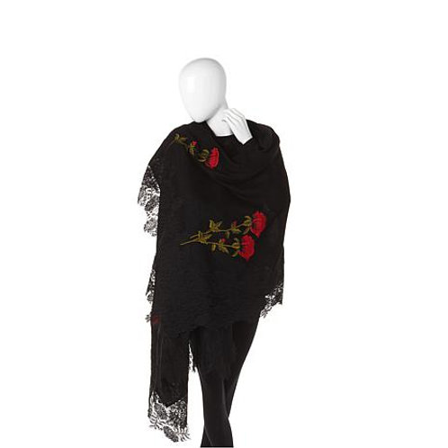 Rose Embroidered Hand-Appliqued Lace Scarf