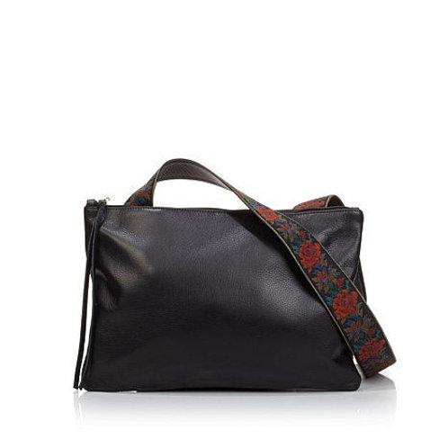 Leather Ribbon Strap Crossbody