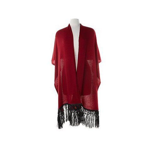 Knit Wrap with Leather Fringe