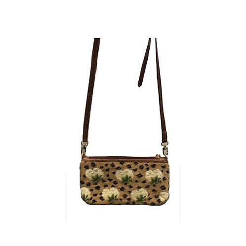 Hand Needlepoint Leopard and Floral Crossbody