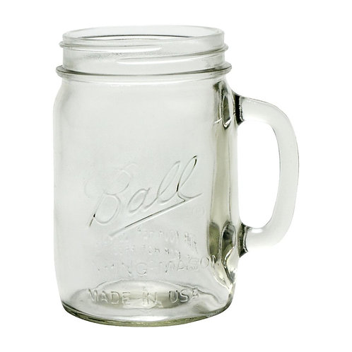 Ball Pint and a Half Wide Mouth Drinking Mason Jars with Handle - 4 Piece Box