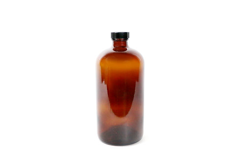 32 Ounce Boston Amber Glass Bottles + Lids-12 pcs