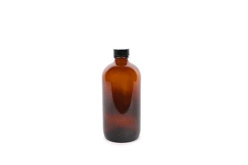 16 Ounce Boston Amber Glass Bottles + Lids-12 pcs.