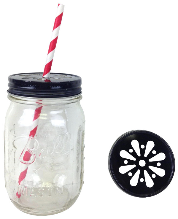 Black Daisy Lid With Jar