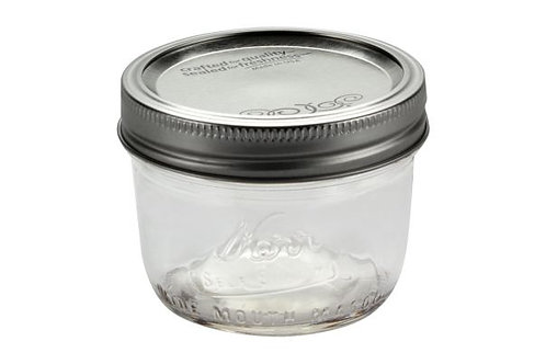 Kerr 8 Ounce Wide Mouth Mason Jars - 12 Piece Box