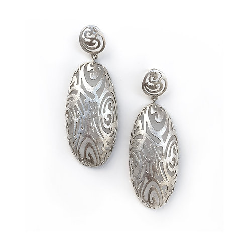 Earrings Half Large Oval Kentimata | Sterling Silver 925°