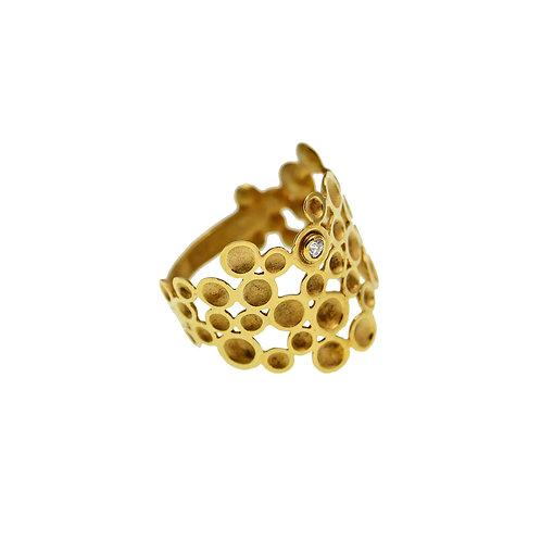Δαχτυλίδι Grapevine | Χρυσός Κ14 - Ζιρκόν