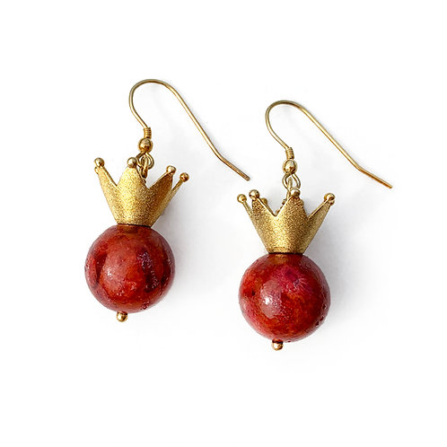 Earrings | Gold Plated Sterling Silver 925° with Red Coral
