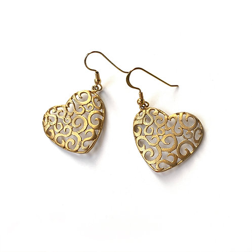 Lace Heart Earrings | Gold Plated Silver 925°