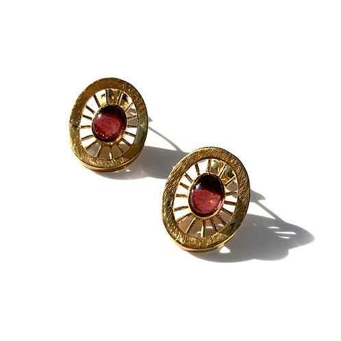 Aktines Oval Earrings | Gold Plated Sterling Silver 925° - Red Cabochon
