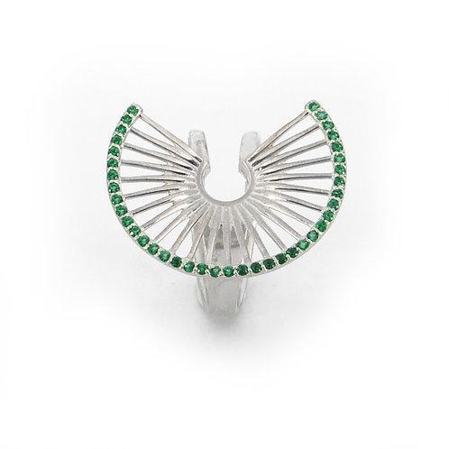 Δαχτυλίδι Hera's Throne | Ασήμι 925° με Πράσινα Ζιργκόν