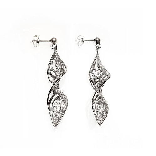 Small Leaf Earrings Kentimata | Sterling Silver 925°
