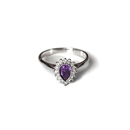 Amethyst Engagement Ring | White Gold 14Κ with Amethyst & zircon
