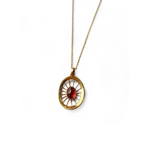 Aktines Oval Necklace | Gold Plated Sterling Silver 925° - Red Cabochon Zircon