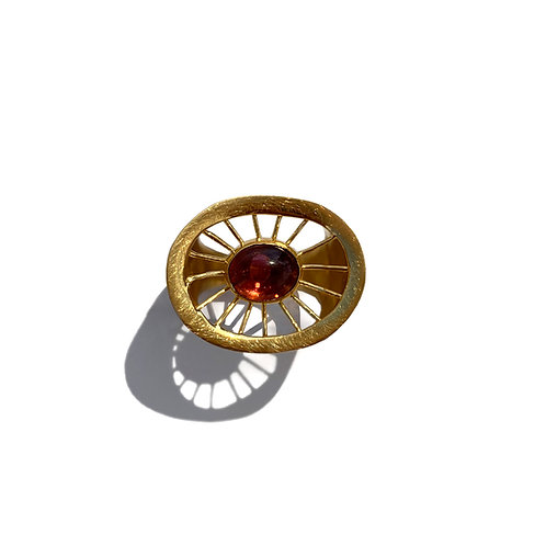 Aktines Oval Ring | Gold Plated Sterling Silver 925° - Red Cabochon Zircon