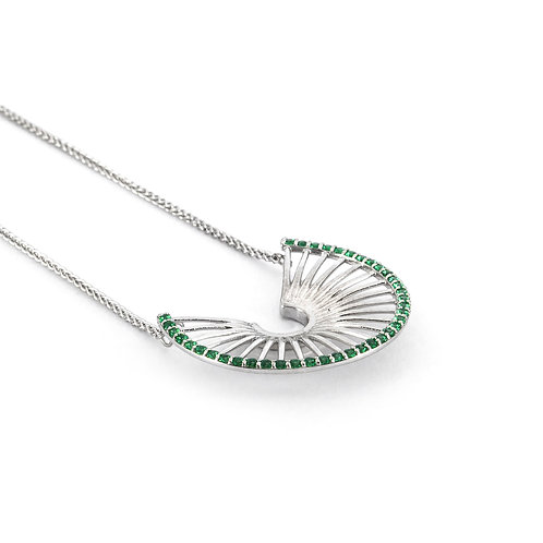 Hera's Throne Necklace | Sterling Silver 925° Green Zircon