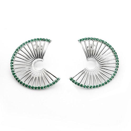 Σκουλαρίκια Hera's Throne Small | Ασήμι 925° με Πράσινα Ζιργκόν