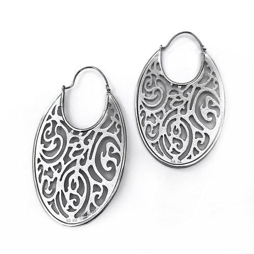 Earrings Flat Oval Kentimata | Sterling Silver 925°