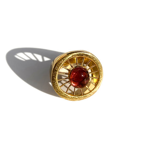 Aktines Round Ring | Gold Plated Sterling Silver 925° - Red Cabochon Zirc