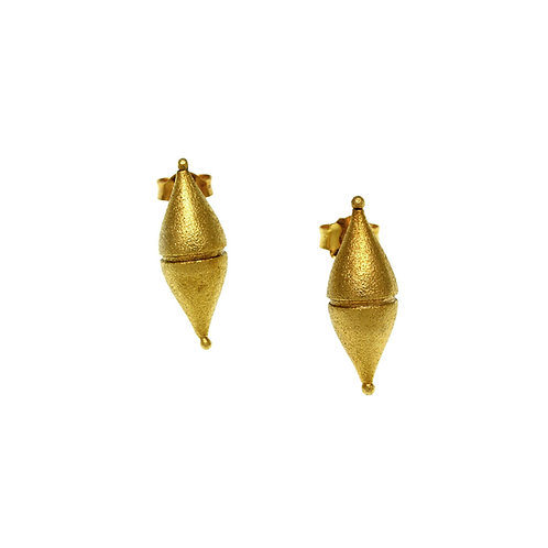 Earrings Tiny Barrel | Gold Plated Silver 925°