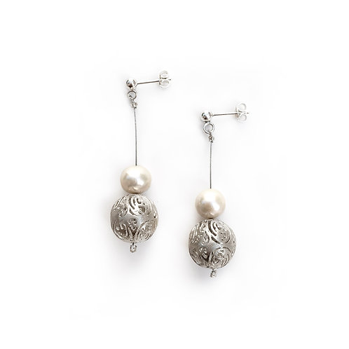 Earrings Pearl Sphere Kentimata | Sterling Silver 925° with Pearl