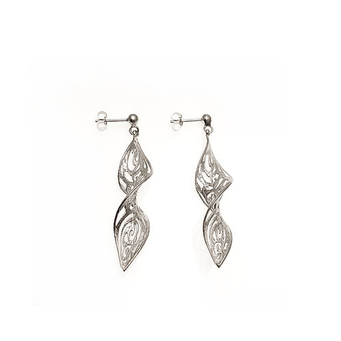 Small Leaf Earrings Kentimata   Sterling Silver 925°